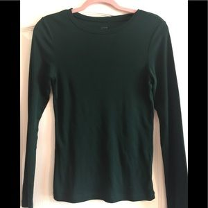 J Crew Hunter Green Cotton Fitted Tee